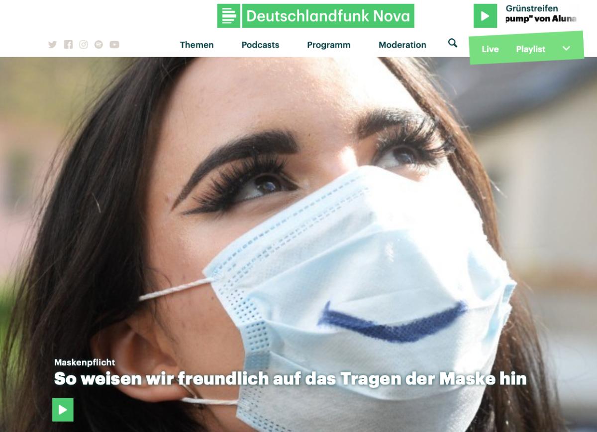 Deutschlandfunk Nova - So weisen wir freundlich auf das Tragen der Maske hin